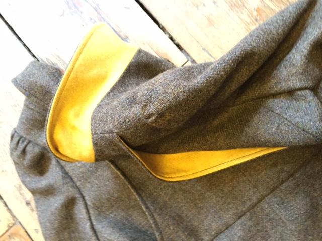 coat grey collar yellow